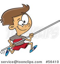 Cartoon Track and Field Brunette White Pole Vault Boy Running by Ron Leishman