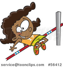 Cartoon Track and Field Black Girl Doing the High Jump by Toonaday