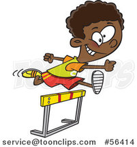 Cartoon Track and Field Black Boy Leaping a Track Hurdle by Ron Leishman