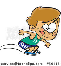 Cartoon Track and Field Dirty Blond White Boy Long Jumping by Ron Leishman