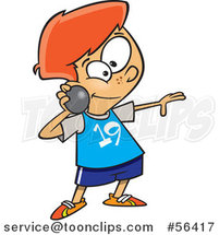 Cartoon Track and Field Red Haired White Boy Throwing a Shot Put by Toonaday
