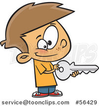 Cartoon Brunette White Boy Holding a Big Key by Ron Leishman