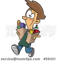 Cartoon Brunette White Teenage Boy Carrying out Groceries by Ron Leishman