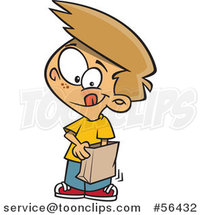 Cartoon Dirty Blond White Boy Reaching into a Grab Bag by Toonaday