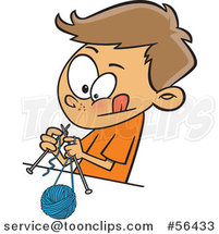 Cartoon Brunette White Boy Knitting with a Ball of Yarn and Needles by Ron Leishman