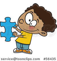 Cartoon Black Boy Holding a Blue Puzzle Piece by Ron Leishman
