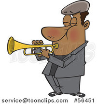 Cartoon Musician Black Guy Playing a Trumpet by Ron Leishman