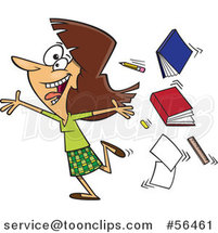 Cartoon Excited Brunette White Female Teacher Running Gleefully and Throwing up Books by Ron Leishman