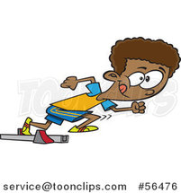 Cartoon Black Track and Field Boy Taking off in a Sprint by Ron Leishman