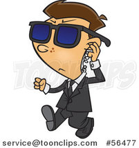 Cartoon White Security Boy Walking and Adjusting an Ear Piece by Ron Leishman
