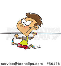 Cartoon Brunette White Boy Running and Preparing to Throw a Javelin by Ron Leishman