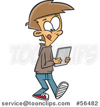 Cartoon White Boy Walking and Using a Tablet Computer by Ron Leishman