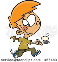 Cartoon Red Haired White Boy Running in an Egg Race by Toonaday