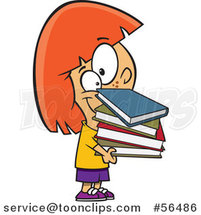 Cartoon Red Haired White Girl Holding a Stack of Books by Ron Leishman