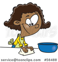 Cartoon Black Girl Kneading Dough and Baking by Toonaday