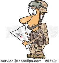 Cartoon White Army Soldier Reading a Map with X You Are Here by Ron Leishman