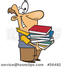 Cartoon White Guy Holding a Stack of Books by Ron Leishman