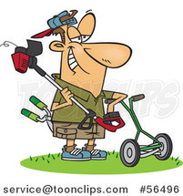 Cartoon White Lawn Warrior Guy Ready to Mow and Weed Whack by Ron Leishman
