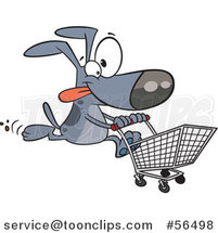 Cartoon Gray Dog Running with a Shopping Cart by Ron Leishman