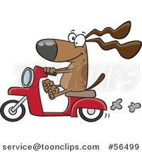 Cartoon Brown Dog Riding a Scooter by Ron Leishman