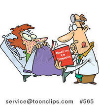 Cartoon Psychiatrist Reading a Dummy Book to Help a Patient by Toonaday