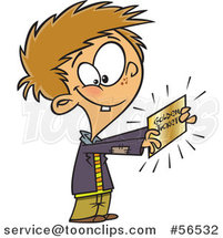 Cartoon Boy, Charlie, Holding a Golden Ticket by Ron Leishman