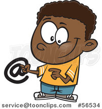 Cartoon Black Boy Holding an Email Arobase at Symbol by Ron Leishman