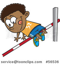 Cartoon Black Boy Doing a Track and Field High Jump by Ron Leishman