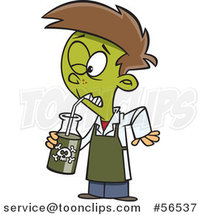 Cartoon Boy Turning Green and Drinking a Poisonous Concoction by Ron Leishman