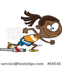 Cartoon Black Track and Field Girl Taking off for a Sprint by Ron Leishman