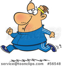 Cartoon Chubby Determined White Guy Running in a Track Suit by Ron Leishman
