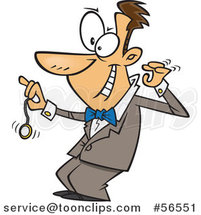Cartoon Grinning White Hypnotist Swinging a Pocket Watch by Ron Leishman