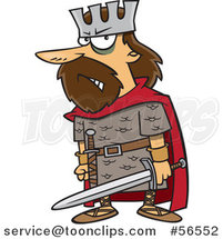 Cartoon Angry King, Macbeth, Holding a Sword by Ron Leishman