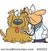 Cartoon White Veterinarian Using a Stethoscope on a Big Dog by Ron Leishman