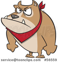 Cartoon Angry Pit Bull Dog with His Paws in Fists by Ron Leishman