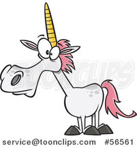 Cartoon White Unicorn with Pink Hair by Ron Leishman