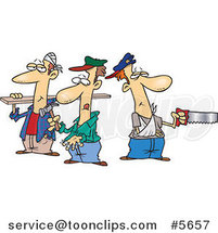 Cartoon Team of Three Accident Prone Handy Men by Ron Leishman