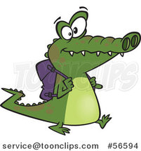 Cartoon Student Alligator Walking with a Backpack by Ron Leishman