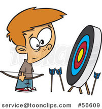 Cartoon White Archery Boy with Many Missed Arrows Around a Target by Ron Leishman