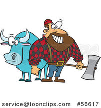 Cartoon Paul Bunyan Lumberjack Holding an Axe by Babe the Blue Ox by Ron Leishman