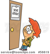 Cartoon Red Haired White School Boy Looking up at a Next Grade Door by Toonaday