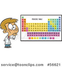 Cartoon White School Boy Thinking by a Periodic Table by Ron Leishman