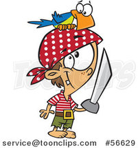 Cartoon White Pirate Boy with a Sword and Parrot on His Head by Toonaday