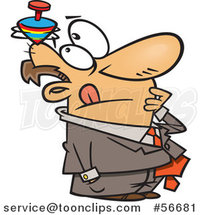 Cartoon Thinking White Business Man with a Top Spinning on His Head by Toonaday