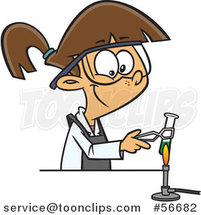 Cartoon Brunette White Girl Heating a Test Tube over a Flame in Science Class by Ron Leishman