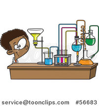 Cartoon Black School Boy Looking at His Lab Setup in Science Class by Ron Leishman