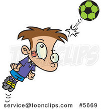 Cartoon Soccer Boy Bouncing a Ball off His Head by Ron Leishman