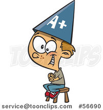 Cartoon Smart Dirty Blond White School Boy Sitting on a Stool and Wearing an a Plus Hat by Ron Leishman
