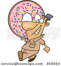 Cartoon White Worker Guy Carrying a Giant Sprinkle Donut by Ron Leishman