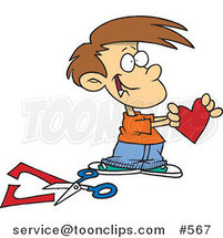 Cartoon Boy Holding a Paper Heart by Ron Leishman